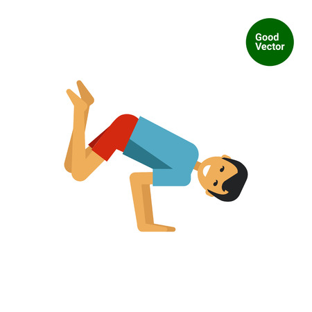legs up: Multicolored vector icon of man lifting legs and body up