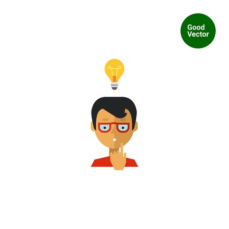 teen boy: Multicolored vector icon of boy wearing glasses and having idea represented by glowing lightbulb