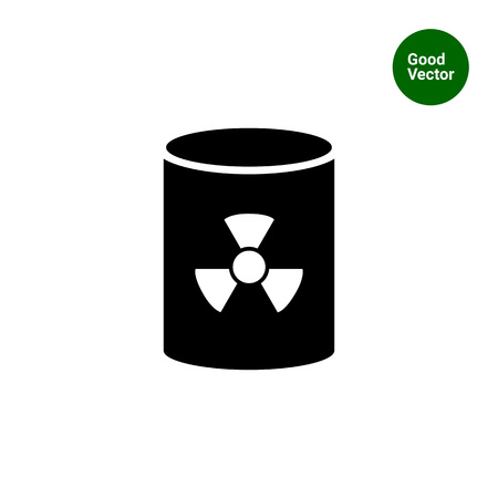 barrels with nuclear waste: Icon of barrel with radiation sign