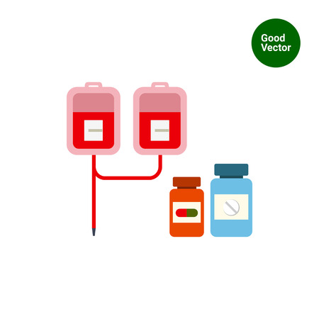 intravenous: Multicolored vector icon of medical drip with iv bags and two pill bottles
