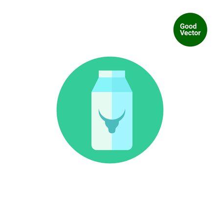 caja de leche: Icono de cartón de leche con la imagen de cabeza de vaca Vectores