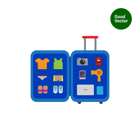 open shirt: Vector icon of open travel suitcase with various items inside