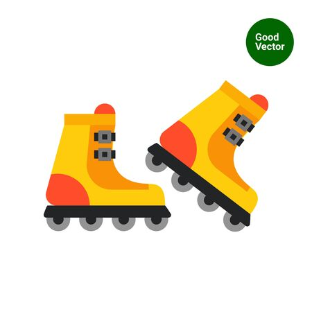 rollerskates: Multicolored vector icon of pair of yellow roller-skates Illustration