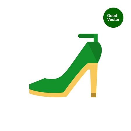 pump shoe: Multicolored vector icon of green high-heeled shoes