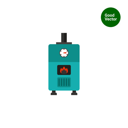 Multicolored vector icon of gas boiler with heat indicator