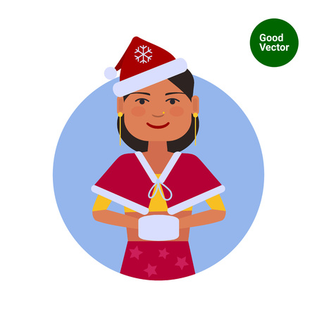 Female character, portrait of Indian teenage girl in Santa costume with muff