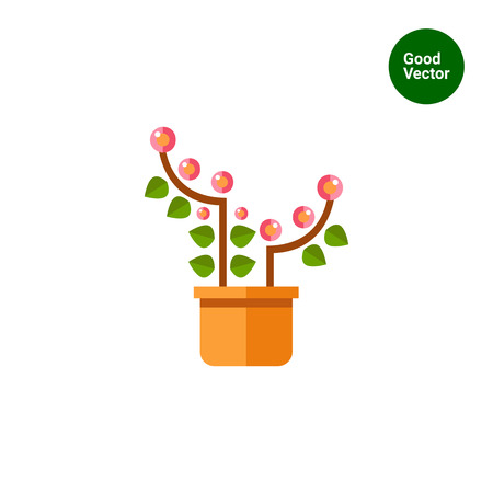 potting soil: Multicolored vector icon of pink blooming flower in pot