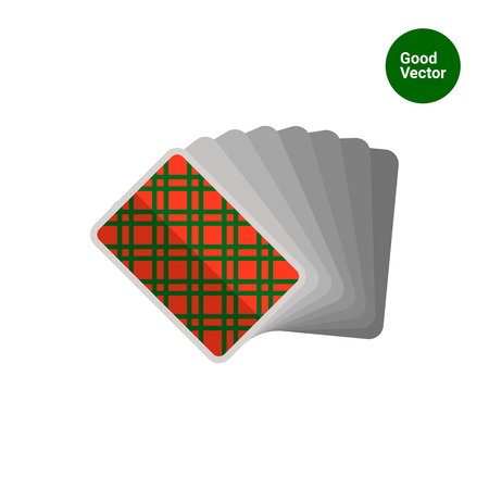 back pack: Multicolored vector icon of playing cards pack with back side up Illustration