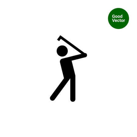 Icon of man silhouette playing golf