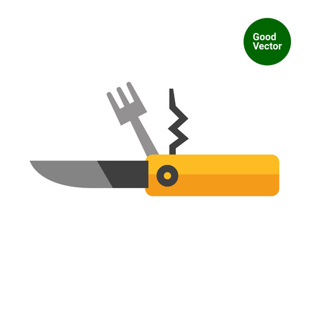 pocket knife: Multicolored vector icon of pocket knife, fork and corkscrew