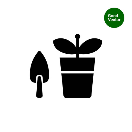 potted: Vector icon of potted plant with shovel