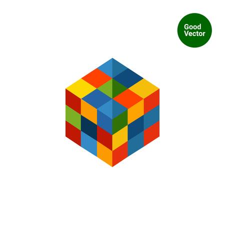 Multicolored vector icon of square rubik cube Vettoriali
