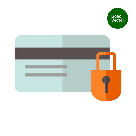 secret codes: Icon of credit card and padlock Illustration