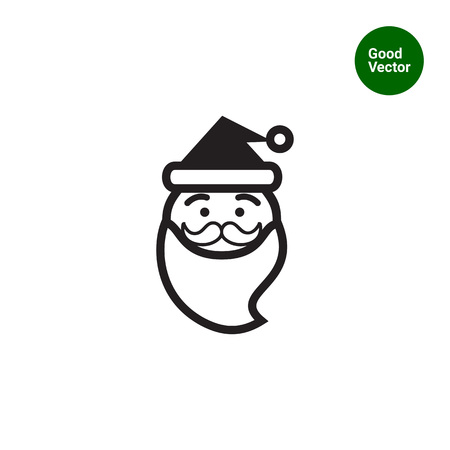 santa claus face: Vector icon of funny Santa Claus face