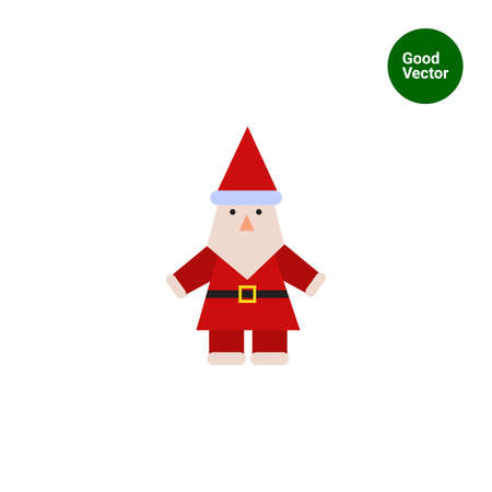 fur cap: Vector icon of Santa Claus with grey beard wearing traditional costume