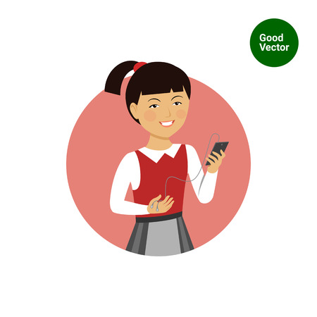 medium length hair: Female character, portrait of smiling Asian schoolgirl holding smartphone with headphones