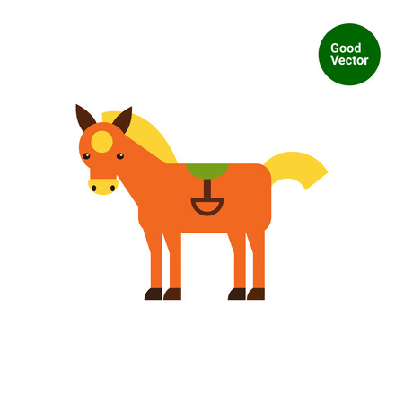 stirrup: Multicolored vector icon of red horse with yellow spot wearing green saddle