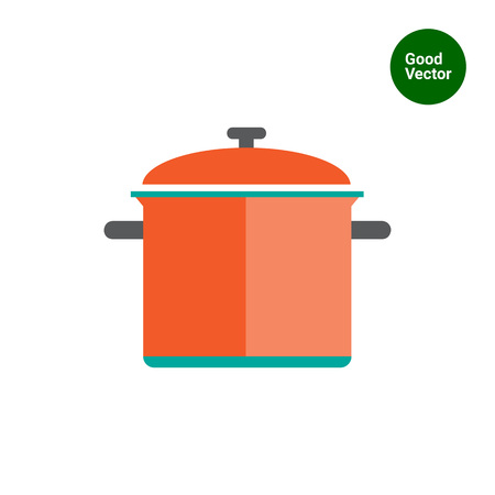 stewing: Icon of red saucepan with lid Illustration