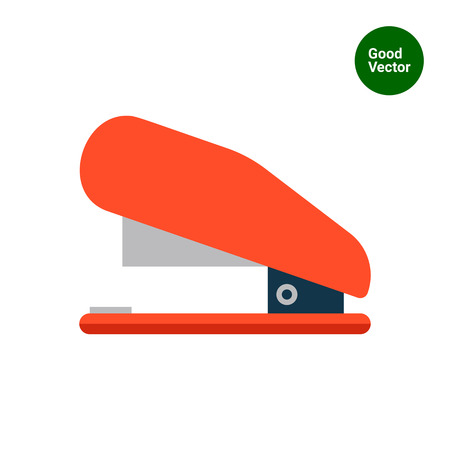 stapling: Multicolored vector icon of red stapler, side view