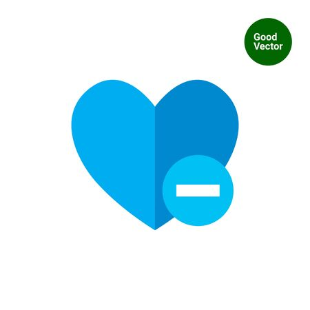 removing: Icon of blue heart sign with minus depicting Remove from  favorites icon