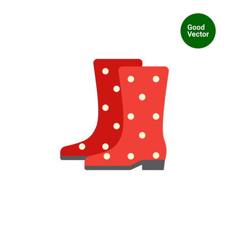red boots: Vector icon of red dotted rubber boots