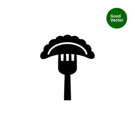russian cuisine: Vector icon of cooked ravioli on fork Illustration