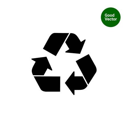 Vector icon of recycling sign represented by triangle made with arrows