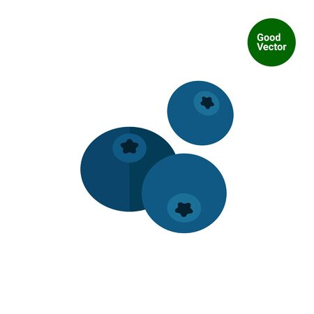blueberries: Vector icon of three ripe fresh blueberries