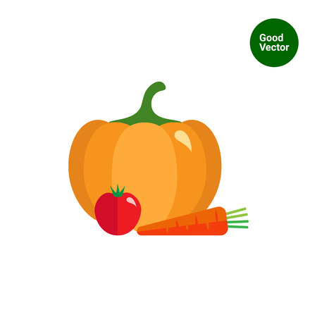 root crop: Vector icon of pumpkin, tomato and carrot