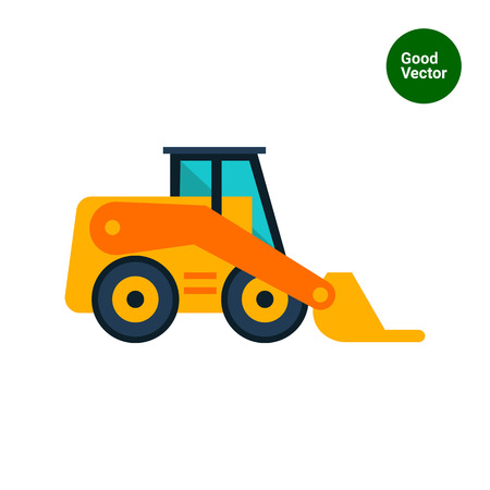 skid: Multicolored vector icon of yellow skid loader Illustration