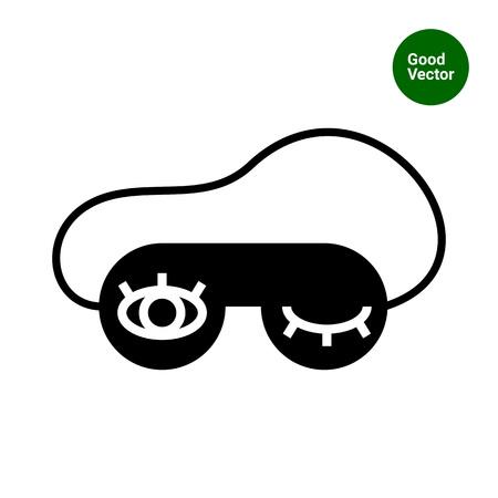 sleep mask: Vector icon of sleep mask with eyes print Illustration