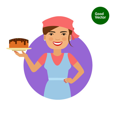 middle aged woman: Female character, portrait of smiling female confectioner holding plate with cake Illustration
