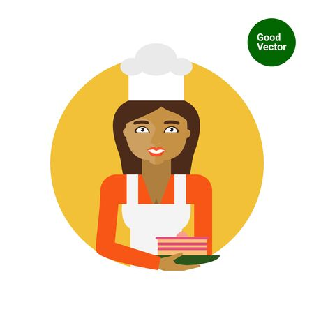 confectioner: Female character, portrait of smiling female confectioner holding plate with cake Illustration