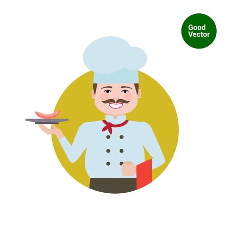 middle aged man: Male character, portrait of smiling male chef with moustache, holding plate with sausage