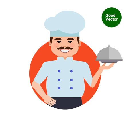 middle aged man: Male character, portrait of smiling male chef with moustache, holding dish closed with cloche