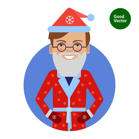 middle aged man: Male character, portrait of smiling man wearing Santa costume and fake beard Illustration