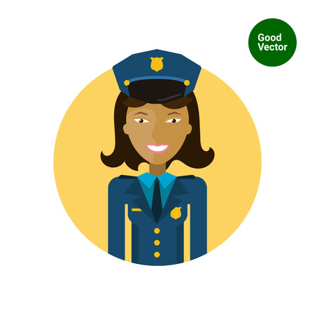 mujer policia: Personaje femenino, retrato de mujer polic�a sonriente joven de Asia