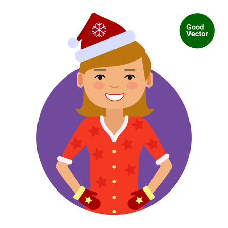 medium length hair: Female character, portrait of smiling woman wearing Santa costume and mittens Illustration
