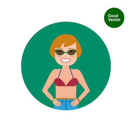 sunglasses recreation: Female character, portrait of smiling woman wearing sunglasses Illustration