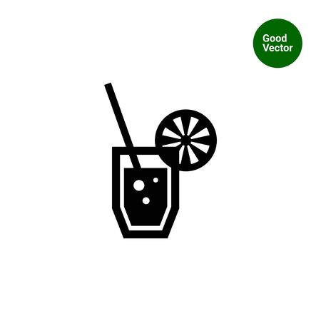 straw: Vector icon of soda glass with straw