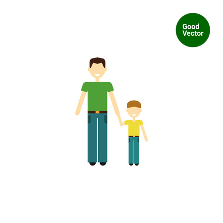 one child: Icon of single-parent family consisting of one man and one child