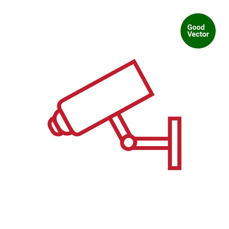 surveillance camera: Icon of surveillance camera hanging on wall