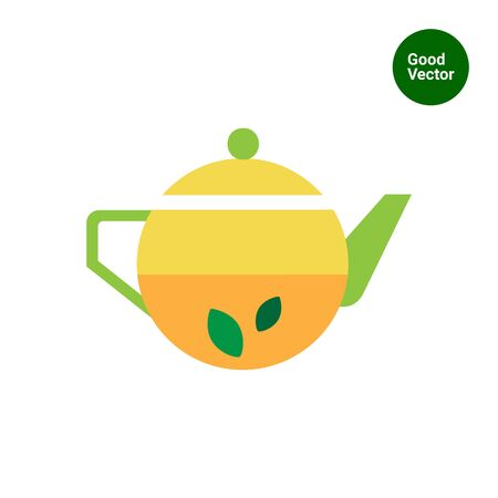 glass half full: Icon of teapot with tea and mint leaves inside