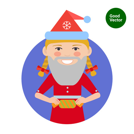 blonde teenage girl: Female character, portrait of smiling teenage girl wearing Santa hat and fake beard, holding cracker Illustration