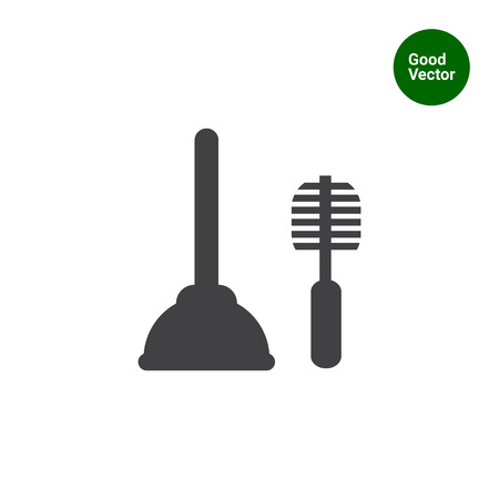 cleaning up: Icon of plunger and toilet brush