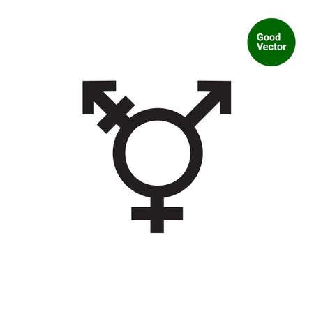 transexual: Icono del vector de la combinación de símbolo transgénero símbolos de género Vectores