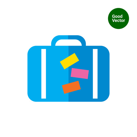 travel bag: Icon of travel suitcase with stickers Illustration