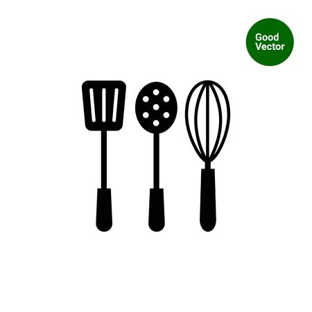 skimmer: Vector icon of turner, skimmer and whisk silhouettes