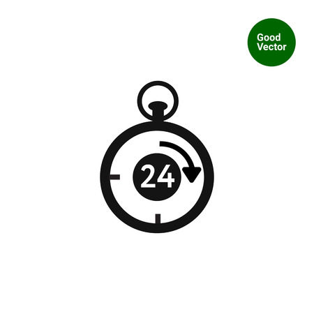 twenty four hours: Vector icon of stopwatch with number twenty-four and arrow inside Illustration
