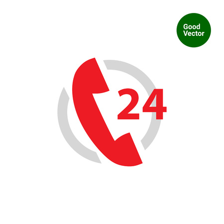 twenty four hours: Icon of twenty-four hour support service with telephone receive in circle Illustration